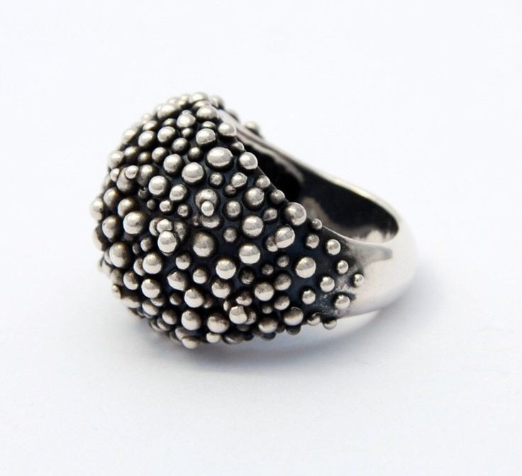 cocktail ring bold ring caviar sterling silver cast ring by LucieVeilleux on Etsy https://www.etsy.com/listing/239475373/cocktail-ring-bold-ring-caviar-sterling