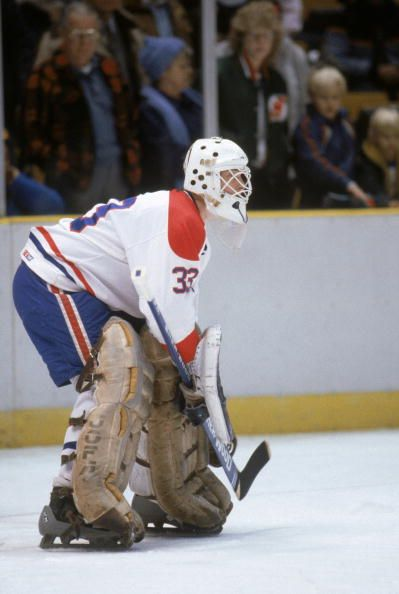 Goalie Patrick Roy of the Montreal Canadiens guards the net during a game in May of 1986