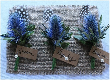 Scottish themed flowers for the groom