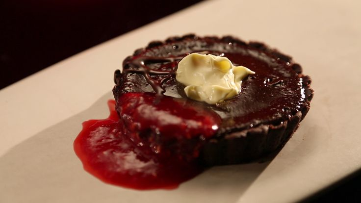 Mick and Matt's Double Chocolate Tart with Raspberries from S4 of MKR: http://gustotv.com/recipes/dessert/double-chocolate-tart-raspberries/