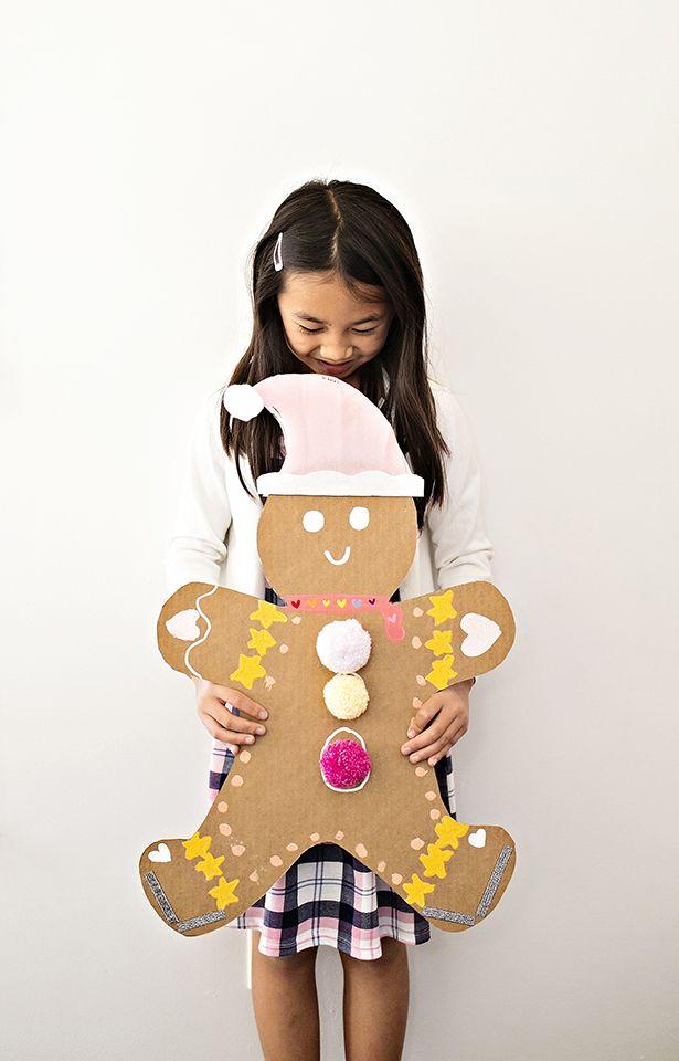 Giant Cardboard Gingerbread Man Art #kidsart #christmascrafts #christmascraftsforkids