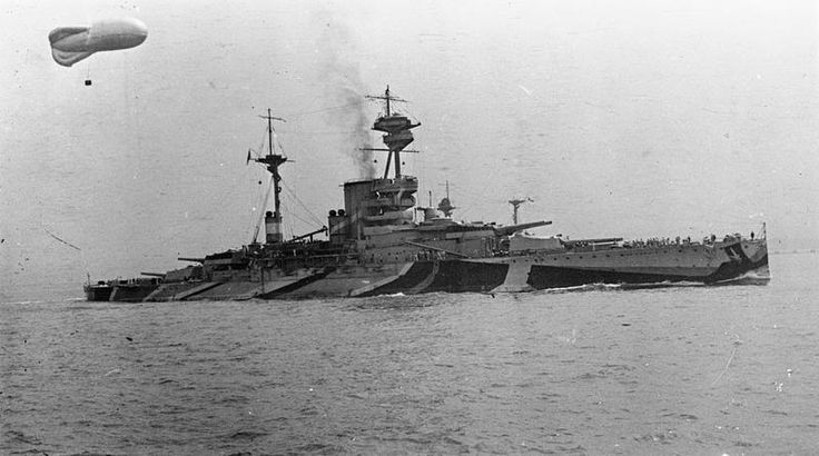 BRITISH SHIPS FIRST WORLD WAR (SP 1143) HMS REVENGE, camouflaged, with kite balloon aloft.