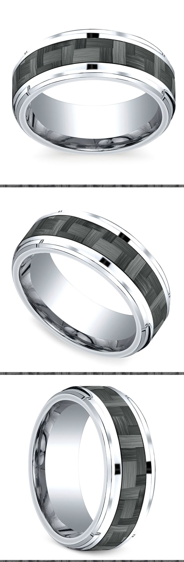this exquisite cobalt mens wedding band is 9 millimeters wide and features a drop beveled edge - Wedding Ring Pics