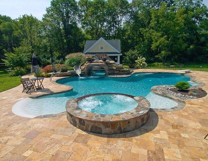 swimming pool designs white colonial home with grey patio and trees surrounding pool outstanding pools and. Interior Design Ideas. Home Design Ideas
