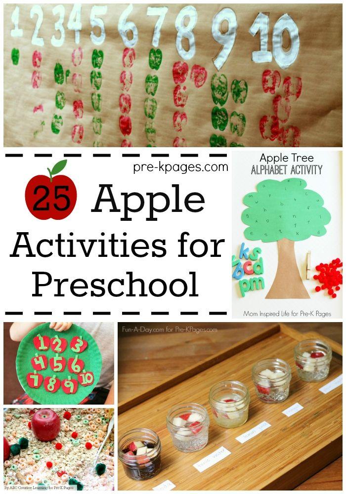 25 Apple Activities for Preschool. Fall fun for kids at home, Preschool, or Kindergarten classroom.