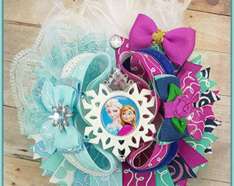Frozen inspired OTT bow - Hair bows - fancy frozen bow- Elsa hair bow - Anna hair bow - handmade OTT boutique bow- Princess stacked bows -