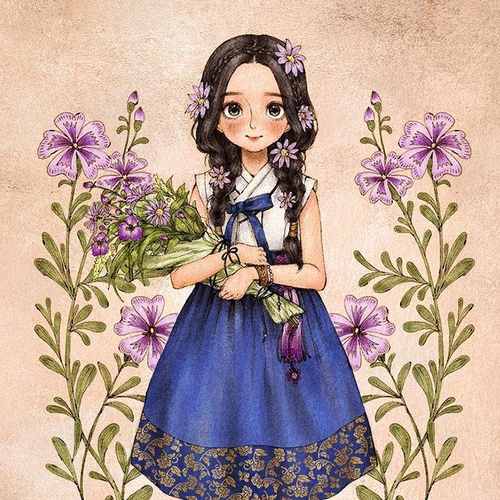 들꽃 한가득 품에 안아든, 한복을 입은 소녀. The girl in hanbok had her hands full of wild flowers…