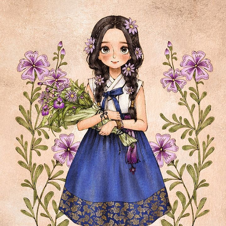 들꽃 한가득 품에 안아든, 한복을 입은 소녀. The girl in hanbok had her hands full of wild flowers. #illust #illustration #girl #flower #wildflowers #hanbok #traditional #dress #drawing #sketch #bluedress #summer #aeppol #일러스트 #일러스트레이션 #소녀 #한복 #여름한복 #데일리한복 #애뽈
