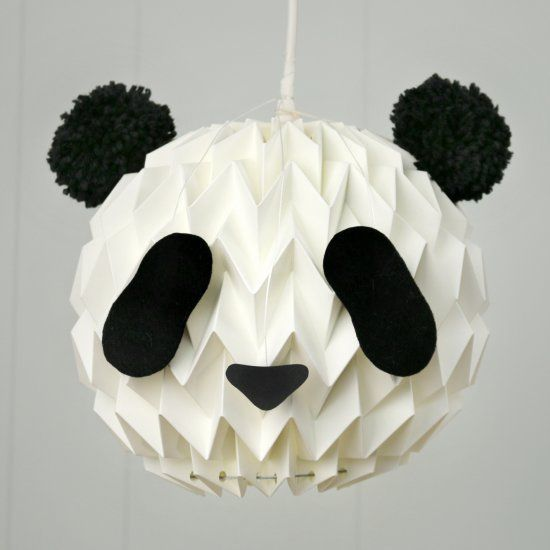 turn your white paper lanterns into a cute panda, with 2 pompoms and a template...