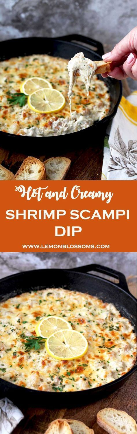 This Shrimp Scampi Dip is rich, creamy, cheesy and so tasty. This bubbly hot dip is easy to make and definitely a crowd pleaser! Succulent shrimp, garlic, lemon zest, cream cheese, Mozzarella and Parmesan make this dip a party favorite! #appetizer #shrimp #dip #gameday #appetizer #partyfood via @lmnblossoms