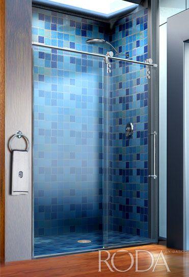 appliances blue tile bathroom with rolaire door luxury glass shower door by basco