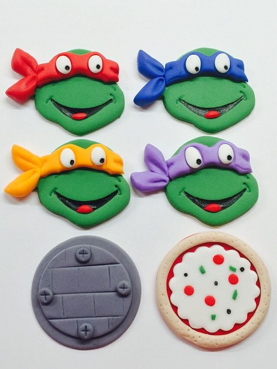 Edible Fondant 2D Teenage Mutant Ninja Turtles Inspired Cupcake Toppers with pizza and lid toppers