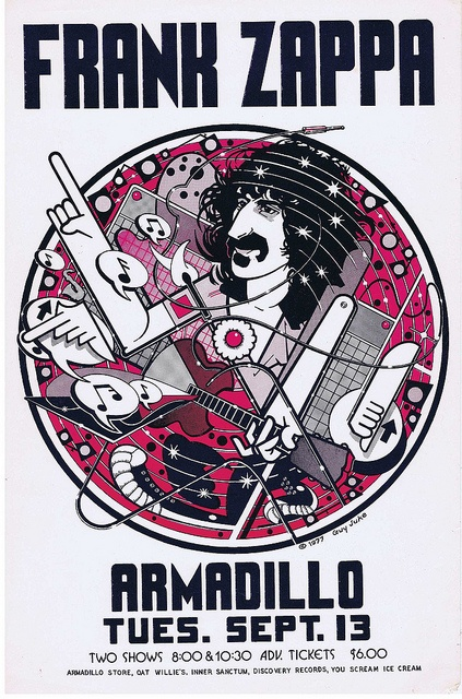 Poster by Guy Juke, Frank Zappa, Armadillo World Headquarters, Austin.