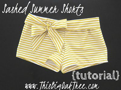 summer shorts with extra fabric...I don't think I will use stripes for my first attempt (or ever), but the idea is so cute and easy.