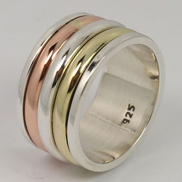 FREE SHIPPING ! THREE TONE 925 Sterling Silver 10 mm Wide Band Ring Size US 5.75 #Unbranded #Band