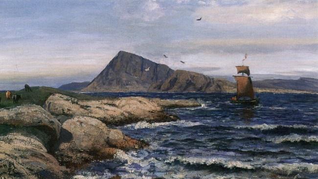 Frederik Collett (1839-1914): Kyr og seilbåt