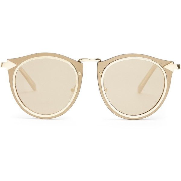 Karen Walker Eyewear Solar Harvest round-frame sunglasses (3.423.935 IDR) ❤ liked on Polyvore featuring accessories, eyewear, sunglasses, gold, round frame sunglasses, round sunglasses, karen walker, karen walker eyewear and mirror lens sunglasses