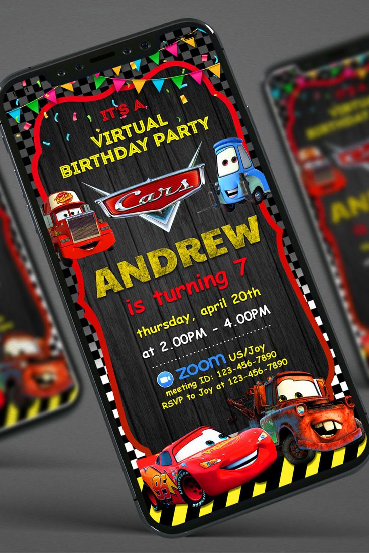 Cars 3 Virtual birthday party Virtual birthday invitation