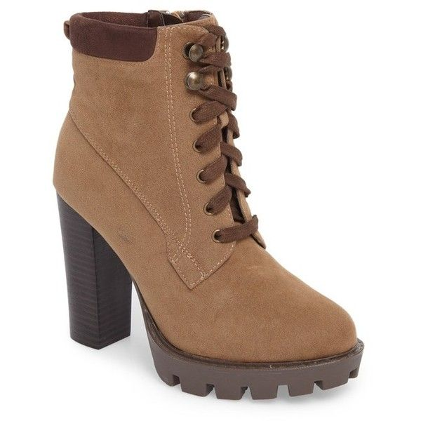 Women's Callisto Metta Bootie ($113) ❤ liked on Polyvore featuring shoes, boots, ankle booties, taupe suede, suede lace-up booties, suede booties, taupe booties, platform booties and laced up ankle boots