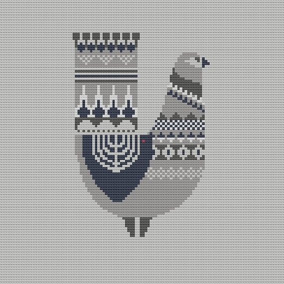 Danish Bird Cross Stitch Pattern PDF Pillow by WallflowerCushions