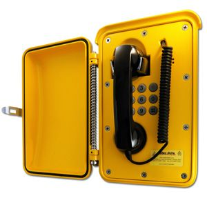 Yellow Roadside emergency station, vandal resistant, environmentally resistant, tough aluminium enclosure, for highways and freeways. handset and curly cord .5 meter, keypad. IOTS, IOCS,