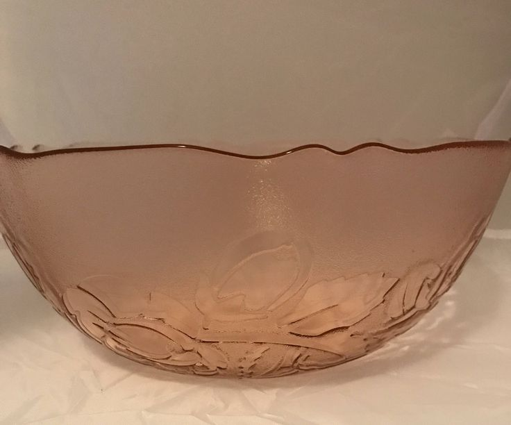 Arcoroc Frosted Rosaline Luminarc Large Bowl, Pink With Roses, French Glassware, Vintage, J.G. Durand, Collectible Glassware, Large Bowl by Sunshineoftreasures on Etsy