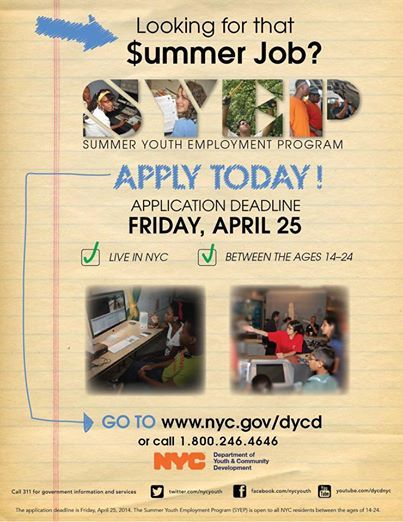Summer Youth Employment Program is Accepting Applications! **Spread The Word! Thanks! (NY & OH)