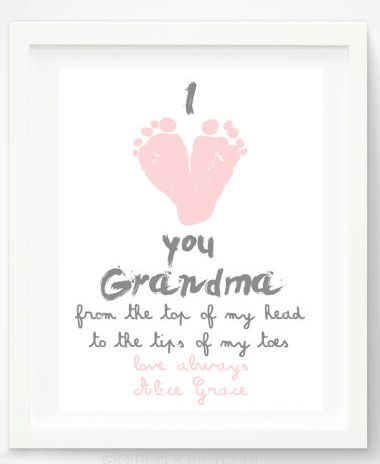 "I'd love to do this for my mom using my son's giant man-sized 11.5 feet as a gag gift!  He does love his grandma...    Mother's Day handprint and footprint gifts: ""I Love You Grandma"" Print by Pitter Patter Print at Etsy"