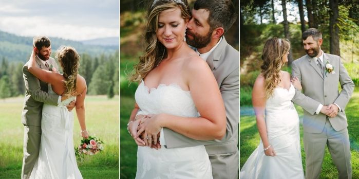 Double Arrow Resort Seeley Lake MT Wedding Photos Couple Hugging