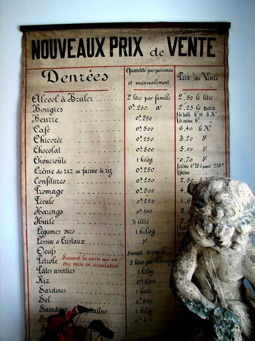 A rare, one of a kind French grocery store ration chart