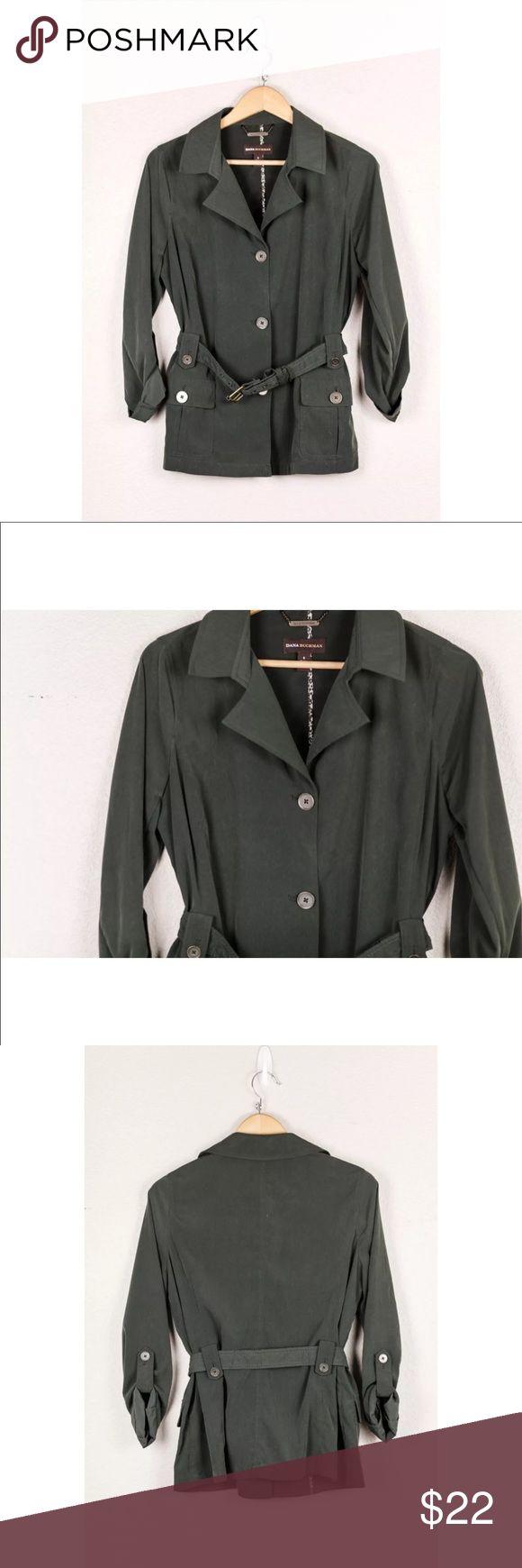 Dana Buchman Olive Green Lightweight Safari Jacket Dana Buchman Women's Olive Green Lightweight Safari Blazer Belted Jacket Small S Dana Buchman Jackets & Coats