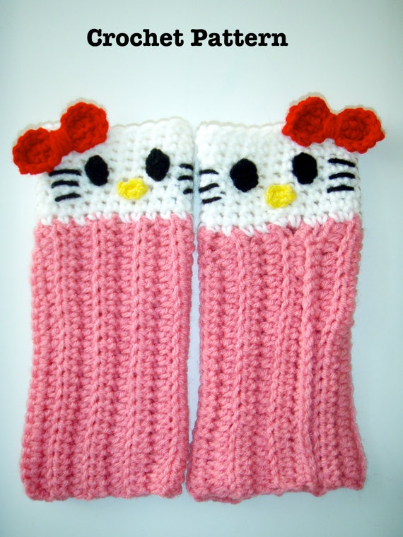 Crochet Hello Kitty Leg Warmers PATTERN PDF by prettythings55