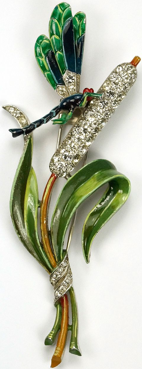 Trifari 'Alfred Philippe' Pave and Enamel Dragonfly on Bullrush Pin Clip