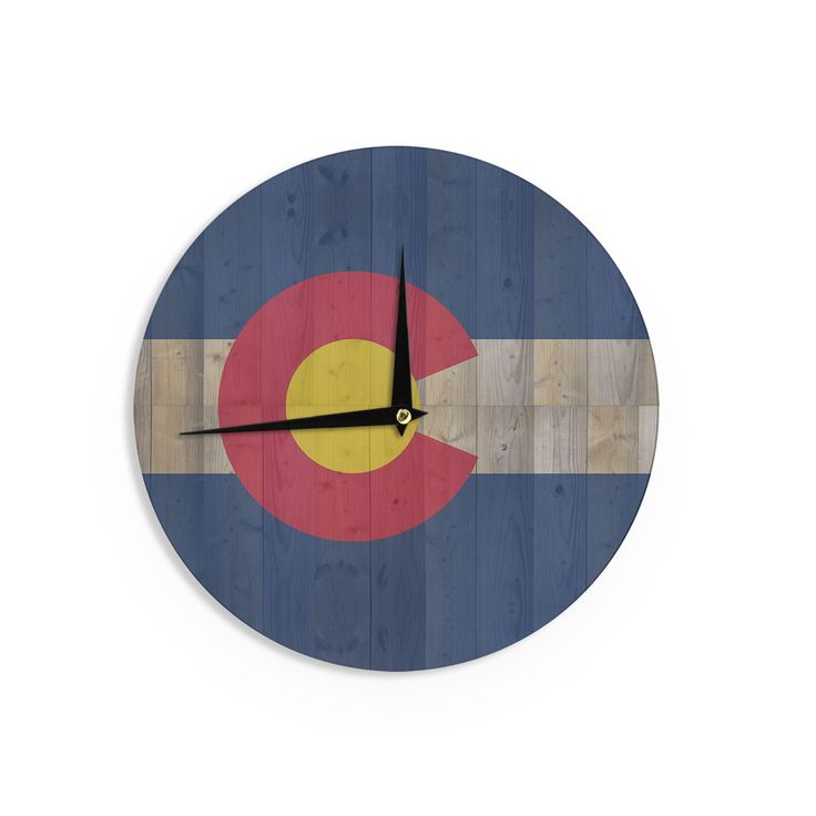 "Kess InHouse Bruce Stanfield Flag of Colorado"" Blue Red Wall Clock 12"" (Flag of Colorado) (Wood)"