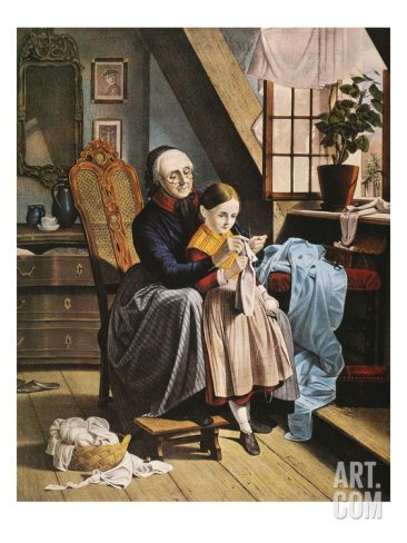 Currier and Ives: Grandmother Art Print by Currier  Ives at Art.com
