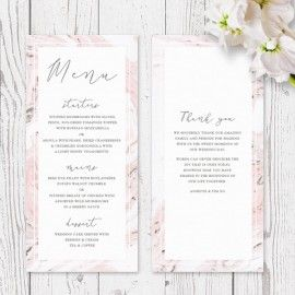 Pink Marble Wedding Menu Corporate Menu | Natural Chocolate Accents | Luxury Double Sided Cardstock | Peach Perfect Australia
