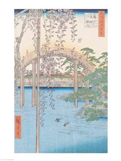 The+Bridge+with+Wisteria+or+Kameido+Tenjin+Keidai+at+FramedArt.com