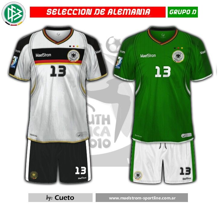 Germany kits for the 2010 World Cup Finals.