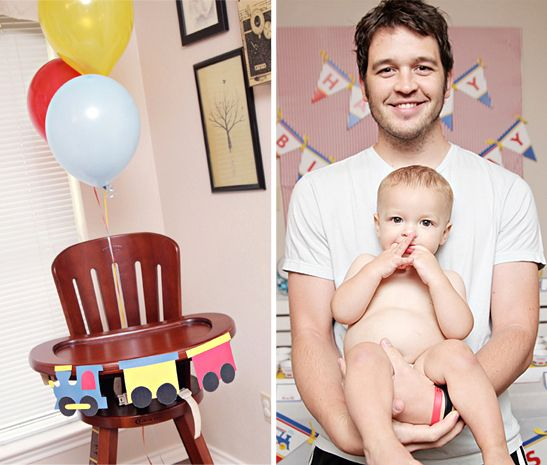 décorer la chaise haute : guirlande +ballons