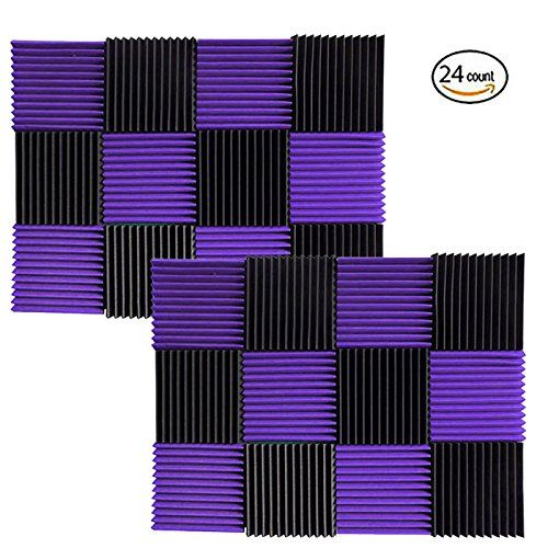 """(24 Pk) 1""""x12""""x12"""" PURPLE / CHARCOAL Acoustic Panels Soundproofing Foam Acoustic Tiles Studio Foam Sound Wedges (12T)  Foam panels HIGHEST point reaches 1 inch height. Its LOWEST point reaches 3/4 inch in height. / Overall Noise Reduction Coefficient (NRC): 0.40  Smaller panels offer more options for placement and design / Pack of 24. Covers 24 sq. ft. (Covers 1 sq. ft. per sheet)  Good for Recording Studios, Vocal Booths, Home Theathers  Reduces standing waves and flutter echoes in sm..."""