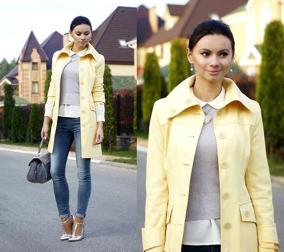 Anna Mour ♥ - Next Trench Coat, Seven Skinny Jeans, Asos Silver Wedges, Marks&Spencer Handbag - Light lemon trench
