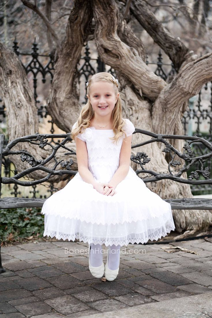 Baptism Dress from White Elegance - BabesInHairland.com #hair #frenchbraid #baptism #lds #mormon