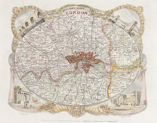 MOULE, Thomas. Environs of London. c. 1837 #London #map