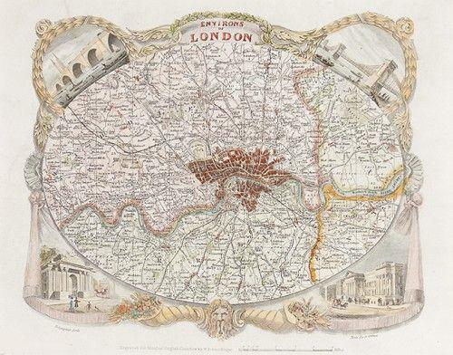 MOULE, Thomas. Environs of London. c.1837 #London  http://sotherans.blogspot.co.uk/ #map