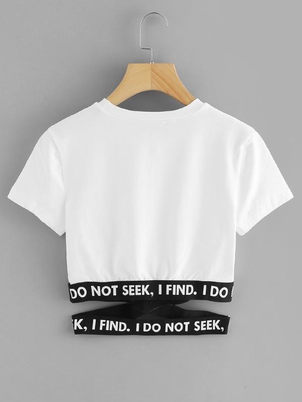 De En Con Contraste Slogan Estampado Cintura Camiseta Tiras deWQorxBEC