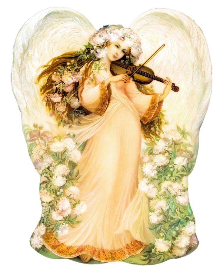 ангелы с арфами картинки украшен наклонными линиями
