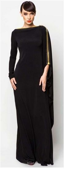 EVENING ZIP NECK MAXI ABAYA LONG DRESS ISLAMIC MUSLIM WOMENS WEAR A classic black evening gown style abaya with a flattering structure and gold zip across the neck and down the sleeves.