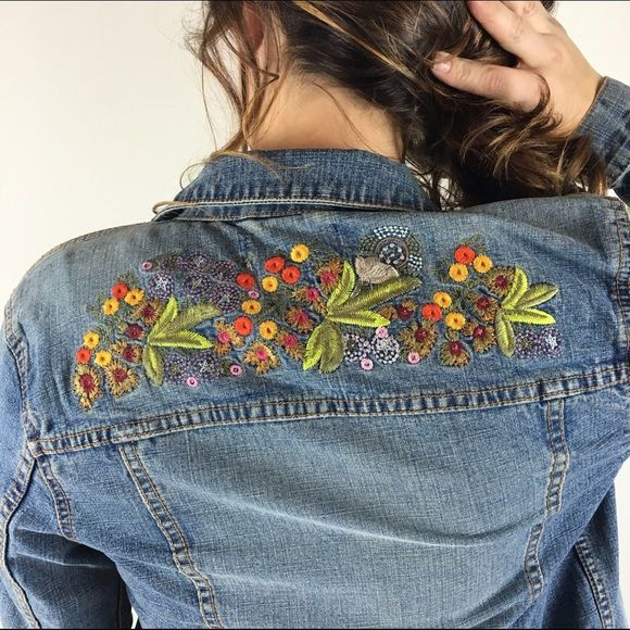 "[London Jeans] Boho Embroidered Denim Jacket Small Medium wash classic denim jacket. Back has beautiful flower embroidery at top. The perfect jacket to throw on with everything.  Color: Medium Denim Fabric: 99% Cotton 1% Spandex Size: Small Bust: 17"" Length: 22"" Condition: EUC. No flaws!  No Trades! No PayPal! Jackets & Coats Jean Jackets"