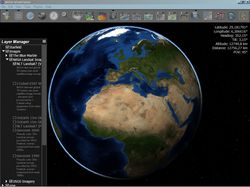 NASA Worldwind is an open-source virtual globe created by NASA that runs on Java. Unlike Google Earth, Worldwind is not one application but many, created by various government and commercial developers around the world. Worldwind also also great for exploring the solar systems as it includes several worlds: Moon, Mars, Venus, Jupiter and various stars & galaxies.