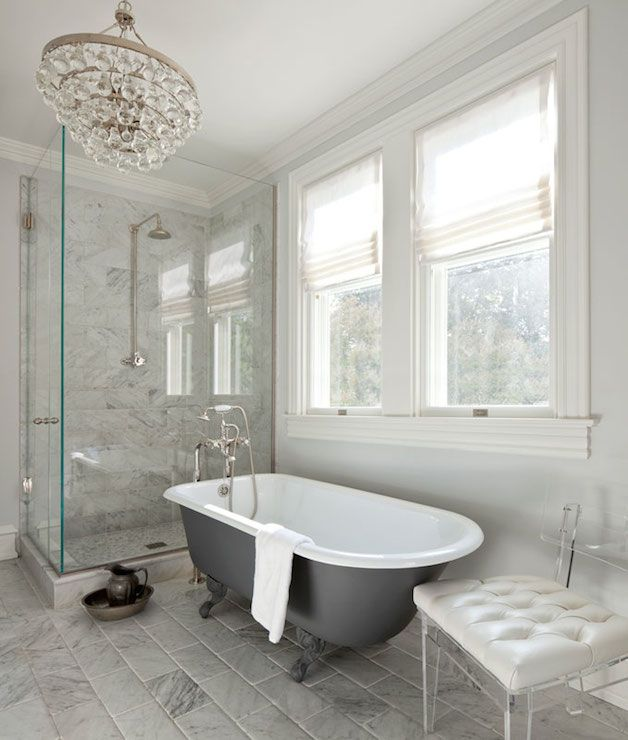 Anne Decker Architects - bathrooms - corner shower, corner shower ideas, rain shower head, marble shower surround, charcoal gray bathtub, cl...